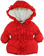 Pink Platinum Baby Girls Ruffle Hooded Winter Puffer Jacket Coat, Red, 3-6 Month