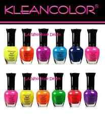12 pcs Kleancolor NEON Nail Polish Set Full Size Art OPI blue pink green red k9
