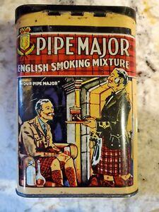 Vintage Pipe Major English Smoking Mixture Vertical Pocket Tin
