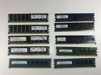 Lot OF 10 MEMORY RAM Sticks 1GB 2GB 512 Crucial Tested Various Speeds Brands