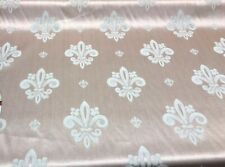 Fleur De Lis Salmon Rose Damask Jacquard Fabric By the yard