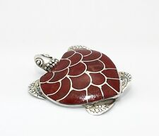 RED CORAL TURTLE PIN  set in .925 STERLING SILVER   FREE FAST SHIPPING !!!