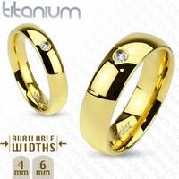 Herren Damen Ring Dome Partnerring aus soliden Titan Gold vergoldet mit Kristall