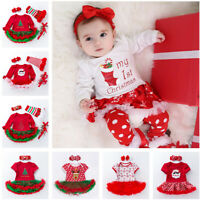 2/4PCS Newborn Baby Infant Girls Christmas Romper Headband Tutu Dress Outfit New