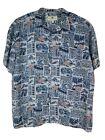 Island Shores Men Hawaiian Shirt XXL Red White Blue Patriotic Flag Short Sleeve