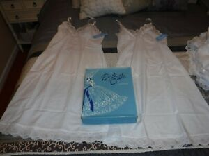 2 VINTAGE Dixie Belle Full Slip Cotton Lace White Size 36,NOS BOX,NWT,NEVER WORN