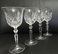 "4 X Nachtmann Palais Clear Cut Crystal 7,5"" Wine Stem Goblet Glass Signed"
