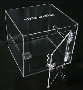 """Small Lockable Clear Plastic Storage Box with lock """"MySecureBox"""" with two keys"""