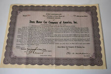 Stutz Motor Car Company stock certificate shares