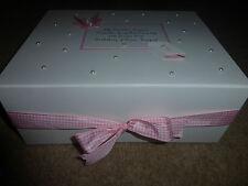 Christening Boy/girl Baby Gift Personalised Keepsake Box Memory Blue/Pink