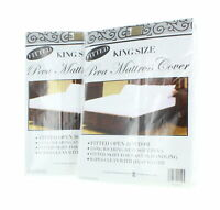 King Size Mattress Cover White Fitted Plastic Protector Lot of 2