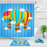 100% Polyester Fabric Colorful Hot Air Balloon Shower Curtain Bathroom Set Hooks