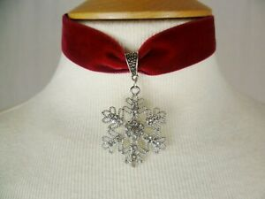 Red Velvet Rhinestone Snowflake Choker, Necklace