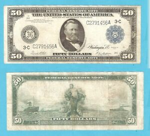 1914 $50 FR 1035 Federal Reserve Note Philadelphia C A Block stk#KL116CBHR