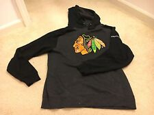NEW - CHICAGO BLACKHAWKS BLACK / GRAY PULL OVER SWEATER WITH HOOD - SIZE L