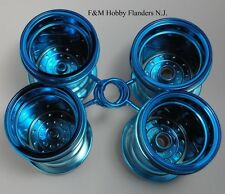 Tamiya Blue Edition Lunch Box 4 Rim Metallic Chrome Wheel Set Also Fits Pumpkin