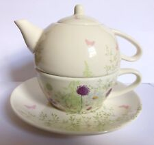 MARKS AND SPENCER EDWARDIAN LADY TEA FOR ONE SET ONE CUP TEAPOT AND CUP+SAUCER