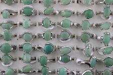 lot 8 bagues métal argenté pierre naturel vert nature (6)