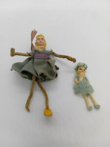 Vintage Pipe Cleaner & Miniature Thread Wrapped Bendable Dollhouse Doll Lot b6