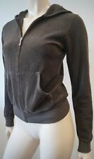 JUICY COUTURE Brown Cotton Blend Terry Towel Hooded Zipper Hoodie Sweater M