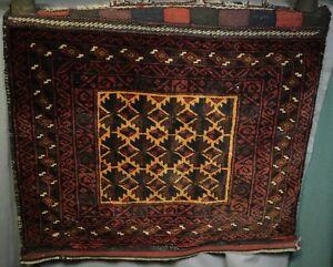 Antique Oriental Rug Tribal Bag Face Saddle Camel Geometric NICE Color Condition