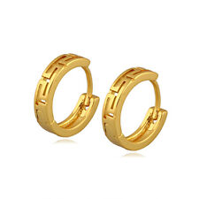 Classic 18k 18ct Yellow Gold Filled GF  Hoop Hoggies Woman Earrings E-A576