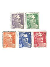 FRANCE, SCOTT # 650-654(5). COMPLETE SET 1951  MARIANNE TYPE ISSUE MVLH