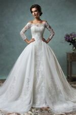 Satin Lace 3/4 Sleeve Wedding Dresses