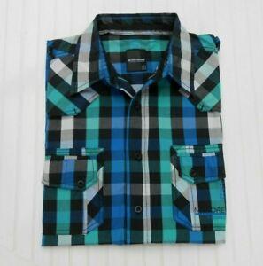 """""""Much More"""" Hemd, Freizeithemd,  Gr. S, schwarz blau grün kariert, Kurzarm"""
