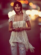NWOT $148 Free People On A Whim Lace Trapeze Tunic Top White Ivory XS Rare