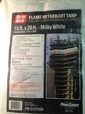 Grip rite 15' x 20' flame retardant tarp white 1 box 5 tarps per box