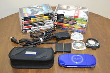 Rare BLUE Sony PSP 2001 System Bundle w/ Games Charger Memory Card Battery Case