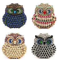 Luxury 3D Crystal Diamante Owl Clutch bag Gift Parties Events Weddings Handmade
