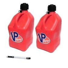 VP RACING 5-GALLON FUEL / WATER JUGS CAN UTILITY CONTAINER RED LOT (2) W/HOSE