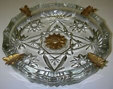 Anchor Hocking Prescut EAPC Clear Ashtray w gold leaves & flower Star of David