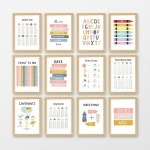 Kids Educational Posters & Quotes, Name Print, 33 Signs, Reward Chart