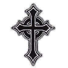 Catholic Cross Black & White Iron-On Patch Christian Faith Symbol Craft Applique