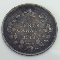 1913 Canada Five 5 Cents Small Silver Circulated Canadian Coin F306