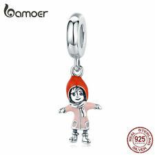 BAMOER Hugging girl Dangle 925 Sterling silver Charm Fit European Women Bracelet