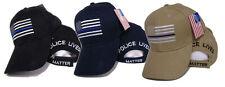 Combo Set Three Police Lives Matter USA Memorial Black, Blue, Khaki Hat Cap