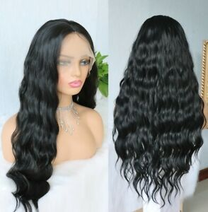 24inch Synthetic hair Lace front wigs Full Head Black Women Long Wavy Curly