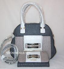 GUESS Maluca Trapezoid Bag Purse Handbag Satchel Sac Wallet Set Croco Genuine