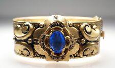 Vintage Victorian Revival Gold Tone Blue Rhinestone Garden Motif Hinged Bracelet