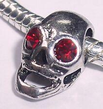 Skull Red Rhinestone July Birthstone Charm fits Silver European Bead Bracelets