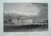 München Pinakothek und Glyptothek  Bayern   echter alter Stahlstich 1840