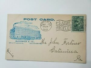 1907 Jamestown McCormick & Co Fragrant Tea Norfolk VA Expo AD Slogan Post Card