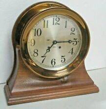 """Excellent Bronze Large Working 8""""Dial Chelsea Ships Bell Chime Clock Walnut Base"""
