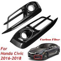 Pair Front Bumper Fog Light Lamp Cover Bezel Trim For Honda Civic 10th