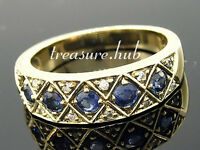 R275 Genuine 9K Yellow Gold SOLID Natural Sapphire Diamond Eternity Ring size P
