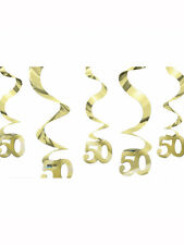 5pc Golden Anniversary Decoration Swirls - Decorations Hanging 50th Swirl